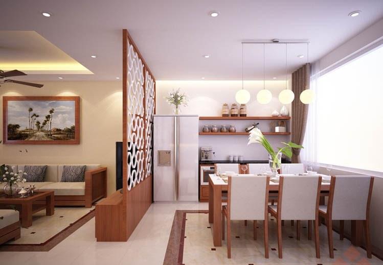 vách ngăn phòng khách và bếp bằng gỗ