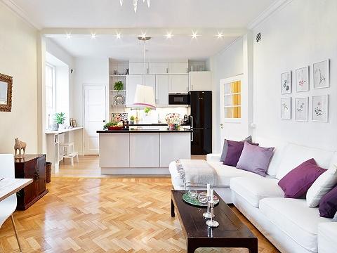 mẫu phòng khách liền kề bếp