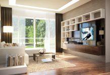 phòng khách và nhà bếp