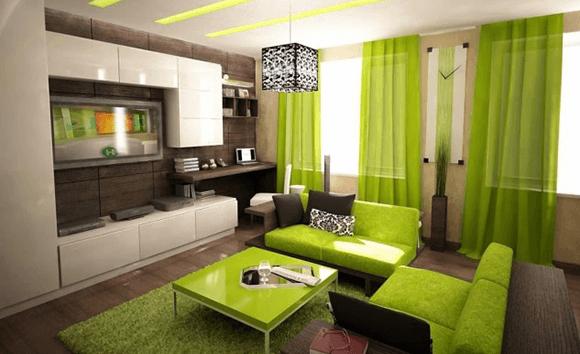 Trang trí phòng khách tông màu xanh lá