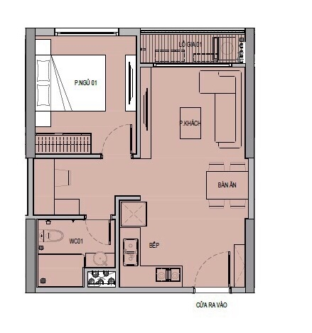 Mặt bằng căn hộ 1 phòng ngủ chung cư VinCity