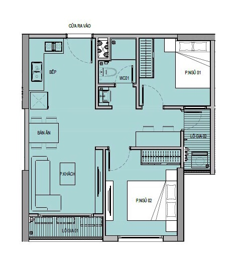 Căn hộ 2 phòng ngủ, 1 toilet tại VinCity Ocean Park