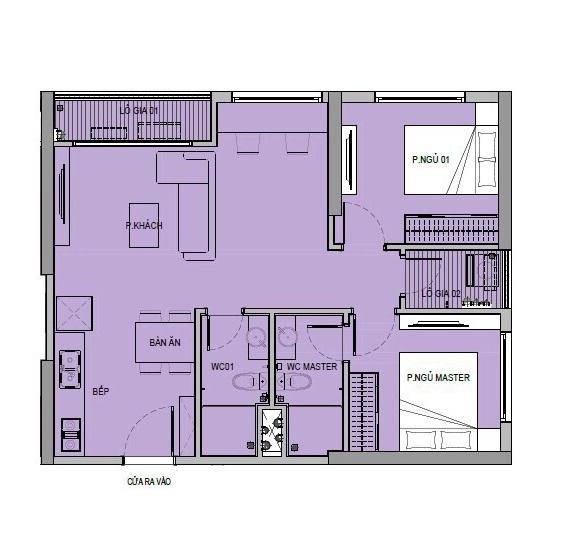 Căn hộ 2 phòng ngủ, 2 toilet tại VinCity Ocean Park