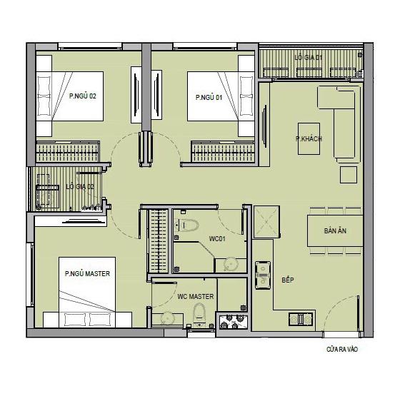 Mặt bằng thiết kế căn hộ 3 phòng ngủ chung cư VinCity Gia Lâm
