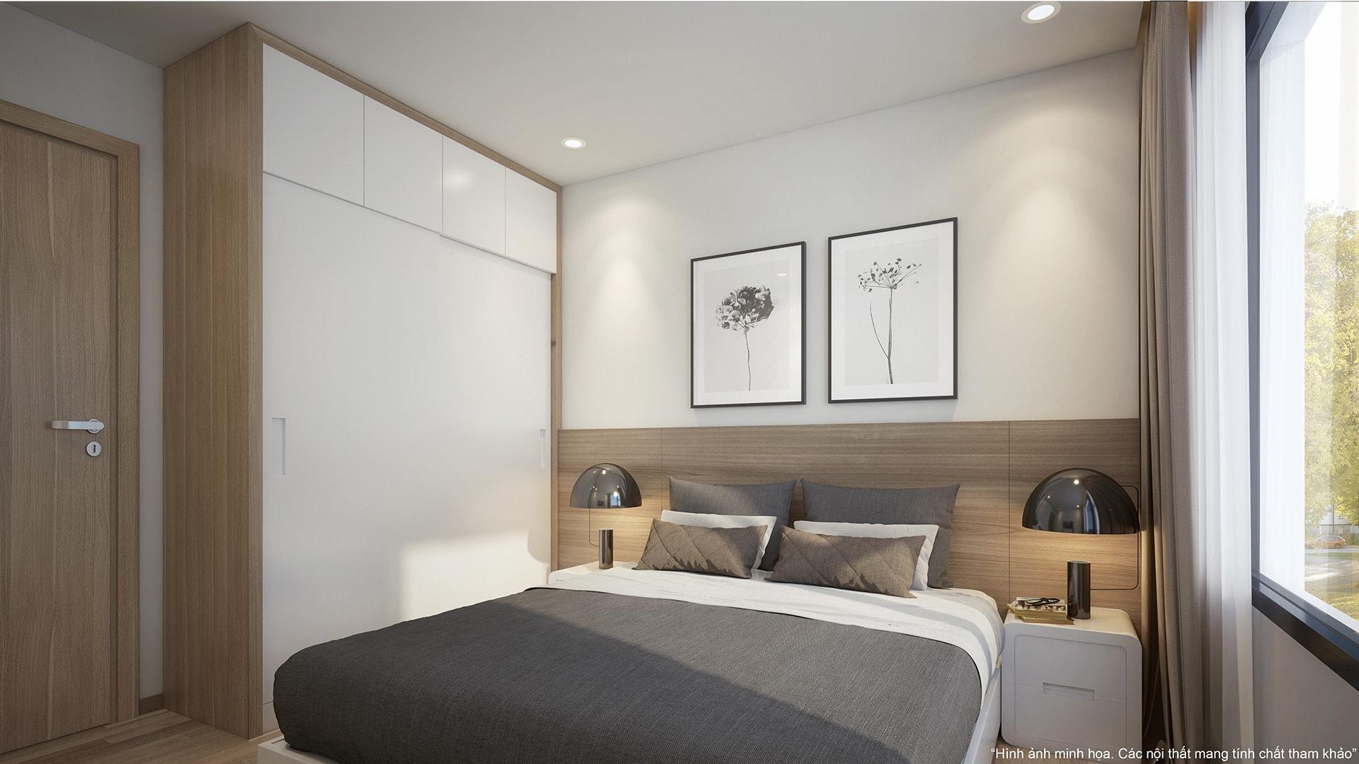 Phòng ngủ Master tại căn hộ 2 phòng ngủ chung cư VinCity